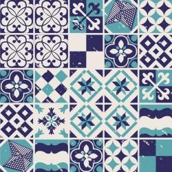 Stickers carrelage ciment bleu