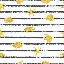 Stickers carrelage poisson de mer or