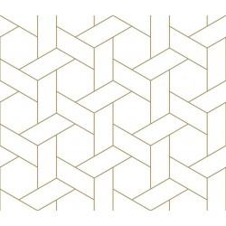 Stickers carrelage géométrique or et blanc
