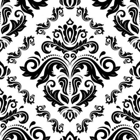 Stickers carrelage baroque noir et blanc