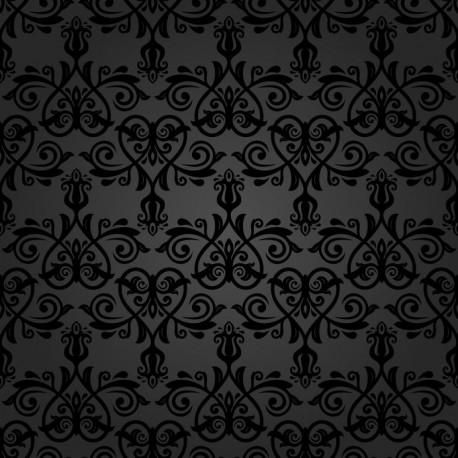 Stickers carrelage baroque noir
