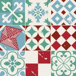 Stickers carrelage ciment vert rouge et bleu