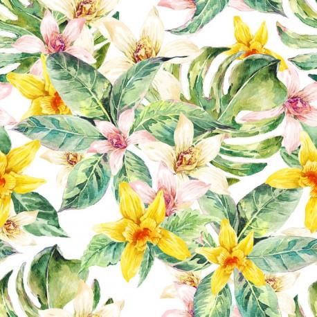 Stickers carrelage orchidée jaune et blanc