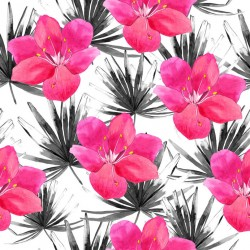 Stickers carrelage rose et noir tropical