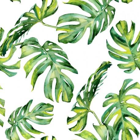 Stickers carrelage feuille tropicale verte