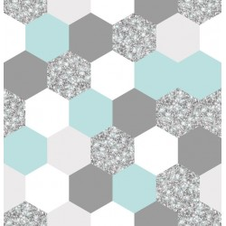 Stickers carrelage hexagone