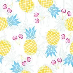 Stickers carrelage ananas jaune et bleu
