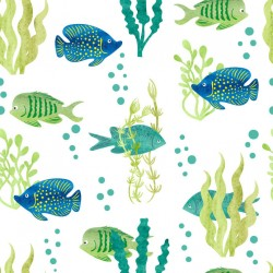 Stickers carrelage poisson vert