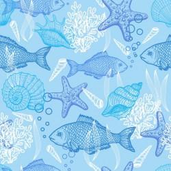 Stickers carrelage poisson bleu