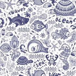 Stickers carrelage poisson et coquillage