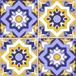 Stickers carrelage jaune et violet