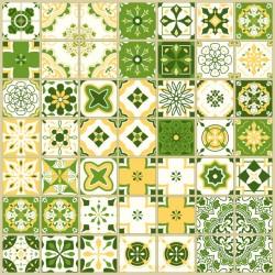 Stickers carrelage ciment vert et jaune