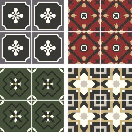 Stickers carrelage ciment rouge, kaki et noir