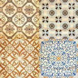 Stickers carrelage ciment doré et marron