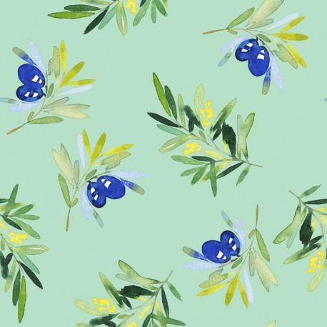 Stickers carrelage olive bleu