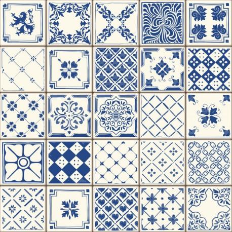 Stickers carrelage ciment bleu et blanc