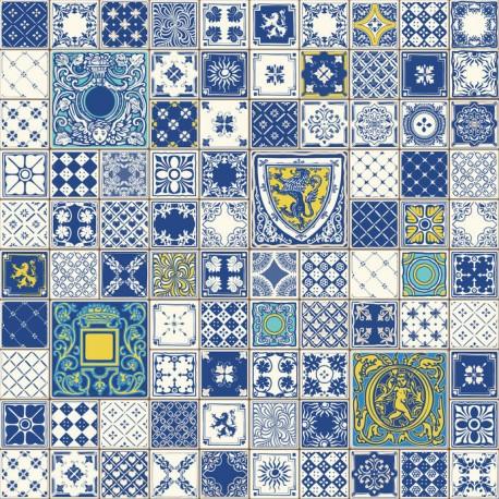 Stickers carrelage ciment bleu et jaune