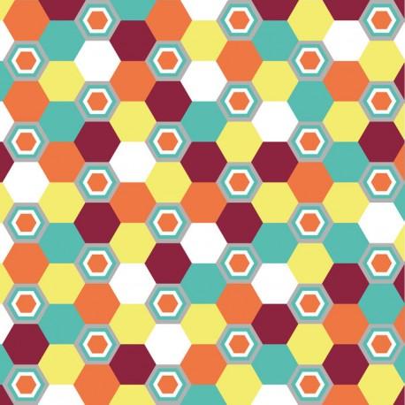 Stickers carrelage rétro hexagone