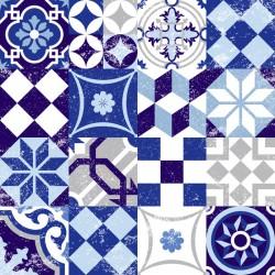 Stickers carrelage ciment bleu et gris