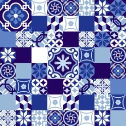 Stickers carrelage ciment bleu foncé et blanc