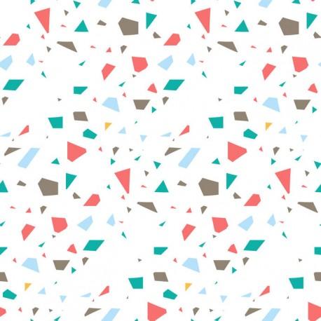 Stickers carrelage rouge corail et bleu