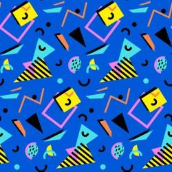 Stickers carrelage géométrique bleu roi