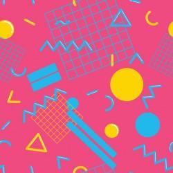 Stickers carrelage géométrique rose