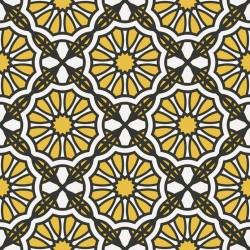Stickers carrelage jaune et blanc