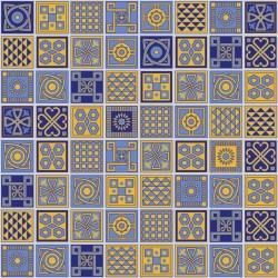 Stickers carrelage jaune et bleu