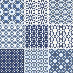 Stickers carrelage bleu et blanc