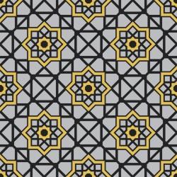Stickers carrelage jaune et gris