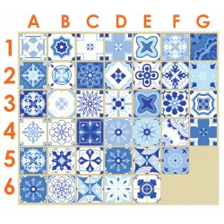Stickers carrelage ciment bleu