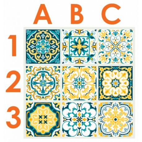 Stickers carrelage ciment jaune et bleu