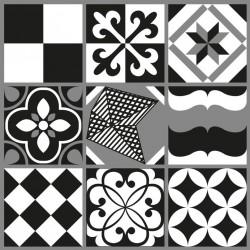 Stickers carrelage ciment noir et blanc